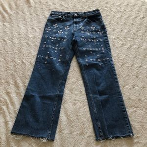 Lucky Brand Embroidered Crop Jeans